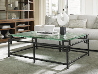 seaglass and metal coffee table