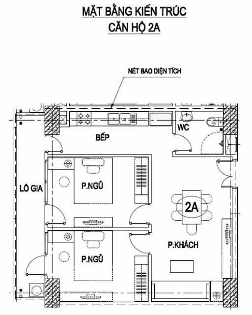 Thiết kế căn 2A chung cư Intracom Trung Văn