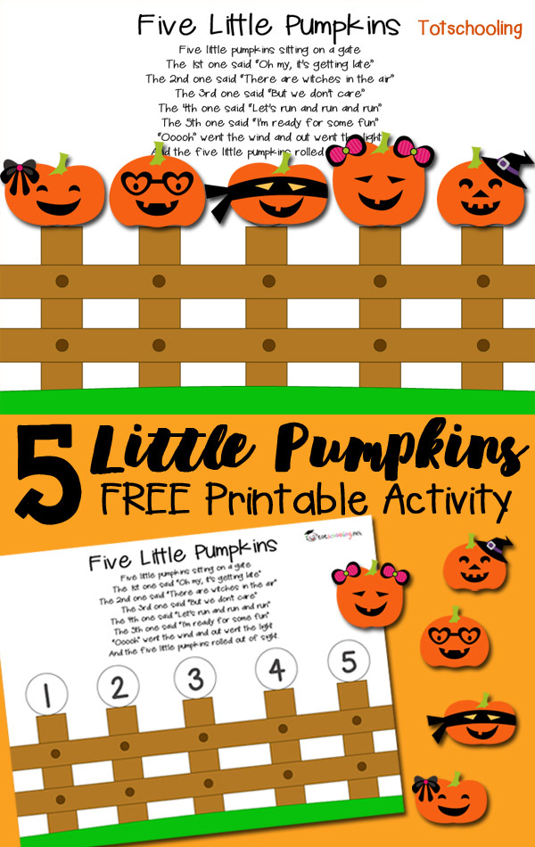 image about 5 Little Pumpkins Printable titled 5 Minimal Pumpkins Printable Game Totschooling