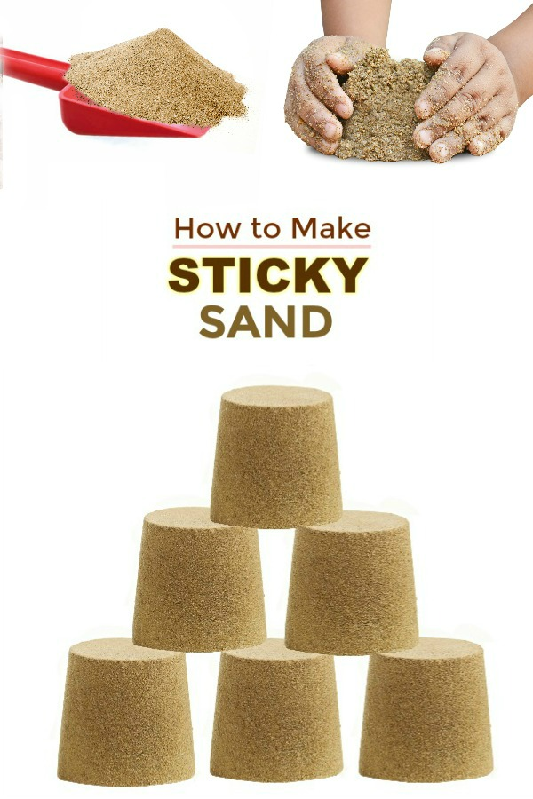 STICKY SAND: mold it, build it, & contain it! a less messy alternative to traditional play sand #sandboxideas #homemadesand #playrecipesforkids #playrecipe #stickysand
