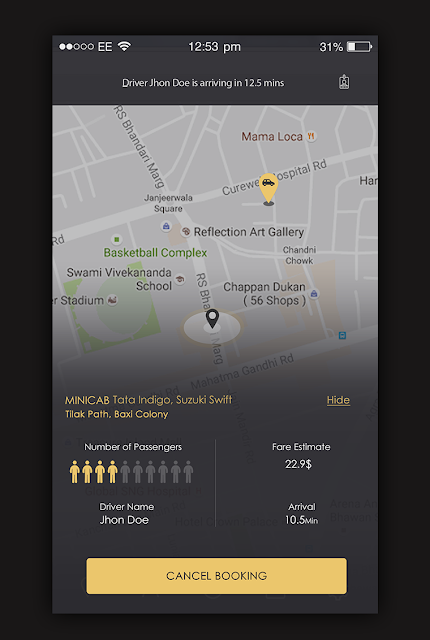 Taxi App Ride Details Screen