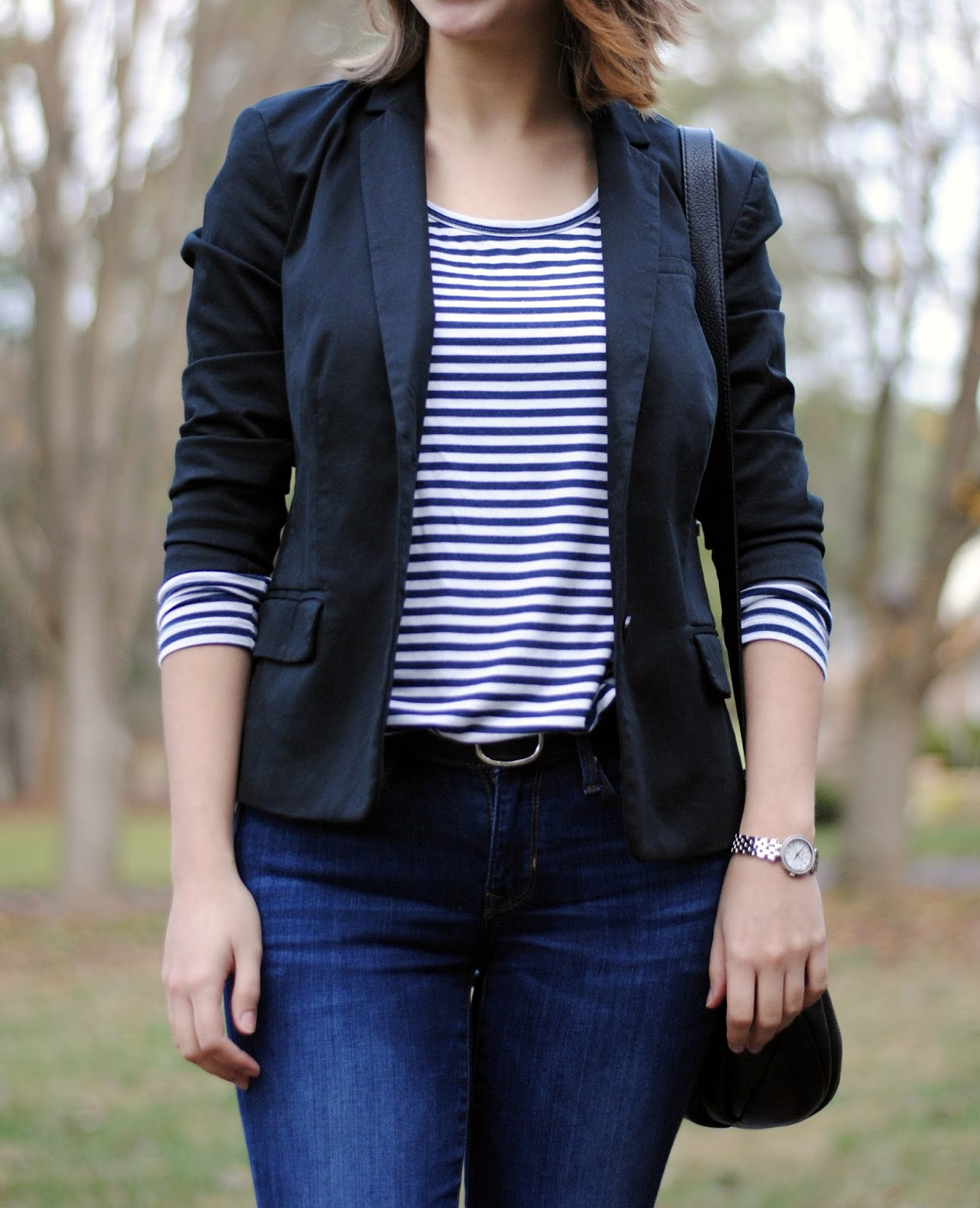 fall outfit blazer stripes tee jeans