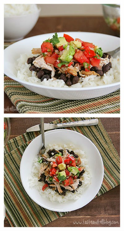 Slow Cooker Pork Burrito Bowls from Taste and Tell found on SlowCookerFromScratch.com