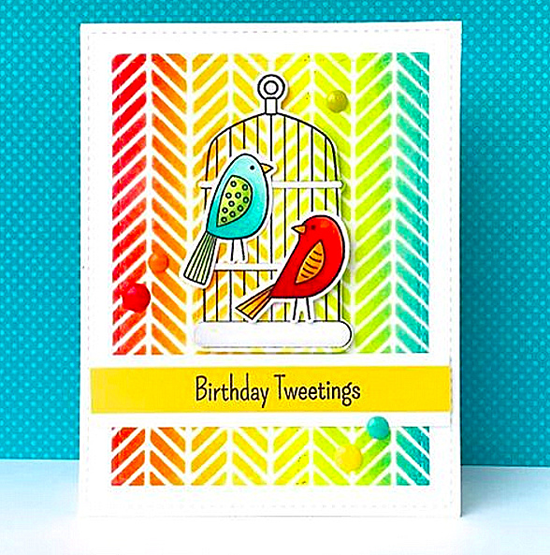 Tweet Friends stamp set and Die-namics, Cheerful Cages Die-namics, Diagonal Bars Stencil - Lynn Put #mftstamps