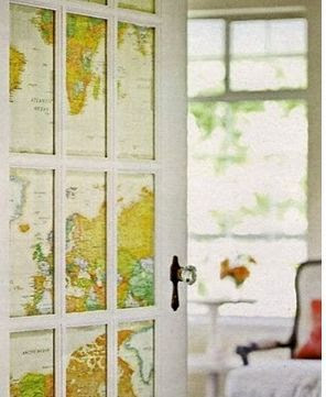 world map curtains and blinds for door, world map decor, world map art