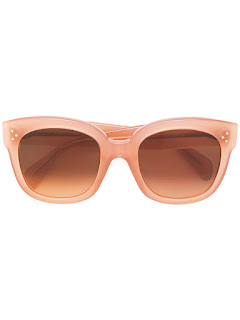 replica celine peach acetate oversized rectangle frame sunglasses
