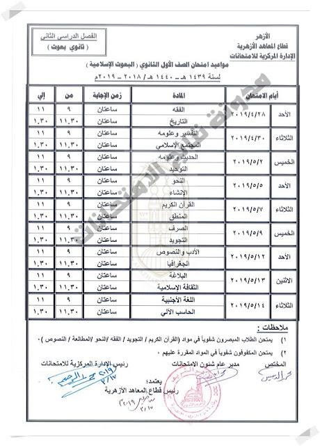 جداول امتحانات النقل الإعدادي والثانوي والقراءات والبعوث الإسلامية 2019