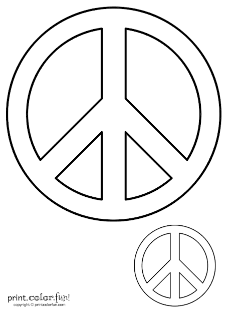 Peace Sign  Print Color Fun Free Printables Coloring Pages Crafts