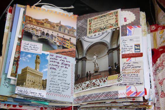travel journal con fotos y adornos