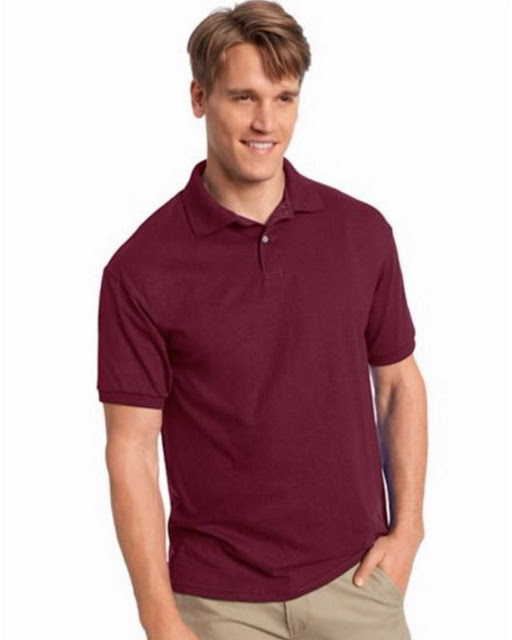 Hanes 054X Mens Comfortblend Jersey Polo -Maroon – L