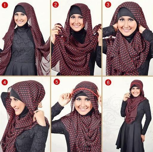 Cara memakai jilbab segi empat 2017
