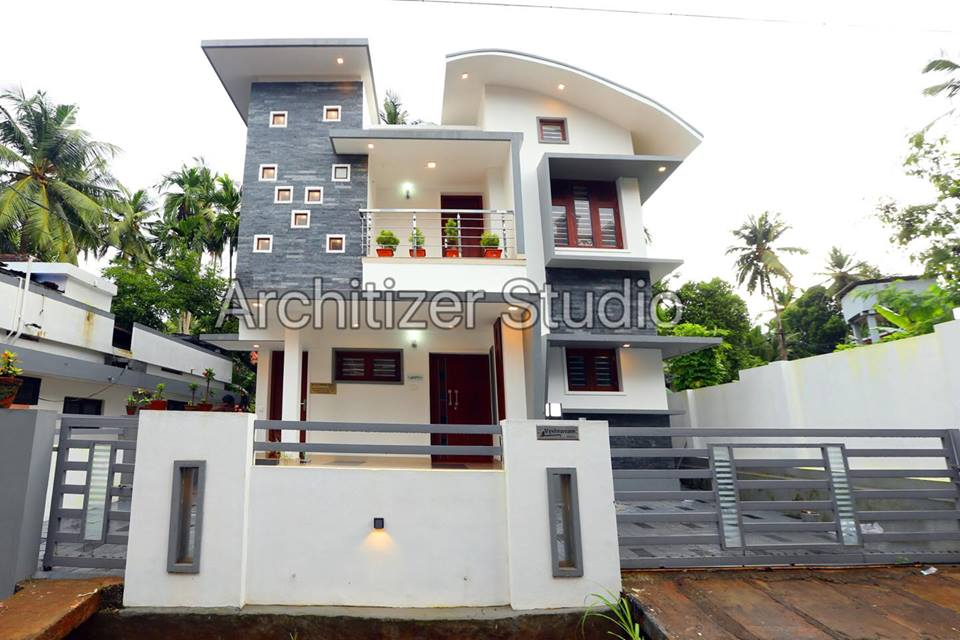 Stunning low cost 3 bedroom modern home design in 3 5 cent for Low cost house plans in kerala with images