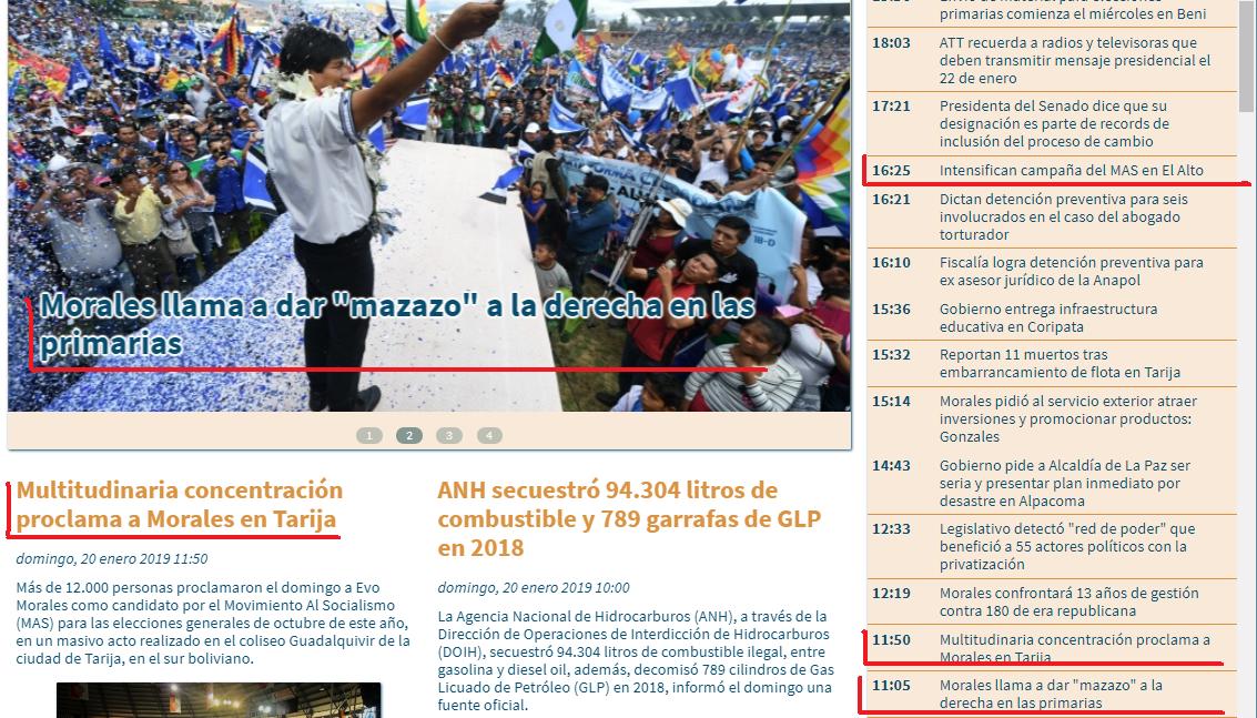 La agencia estatal publicó 12 notas a favor de Morales en menos de 48 horas / CAPTURA PANTALLA