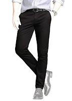 Erkekler için dar paçalı siyah kumaş pantolon