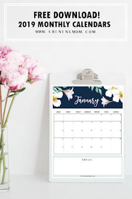 free 2019 monthly calendar download
