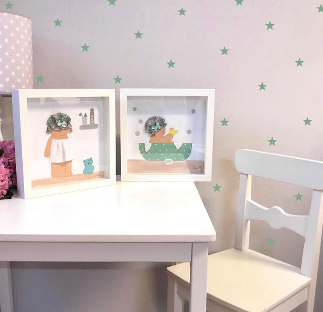 láminas infantiles con marco pintadas a mano
