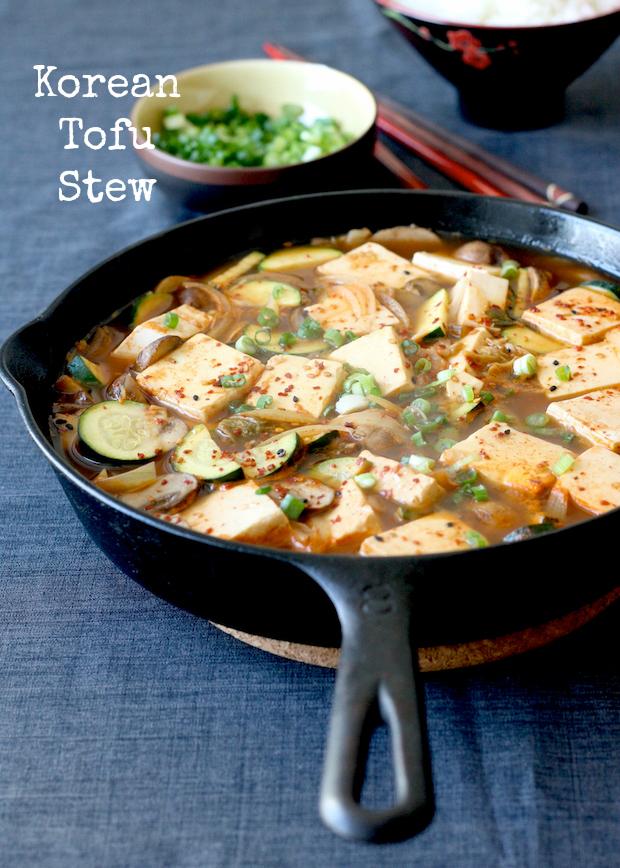 Vegetarian Korean Tofu Stew in Skillet recipe by SeasonWithSpice.com