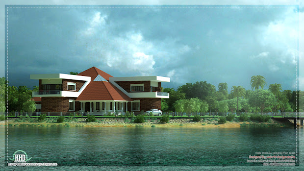 Unique Lake Side Kerala Villa Elevation - Home