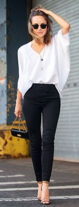 spring office style addiction / white blouse + bag + black skinnies + heels