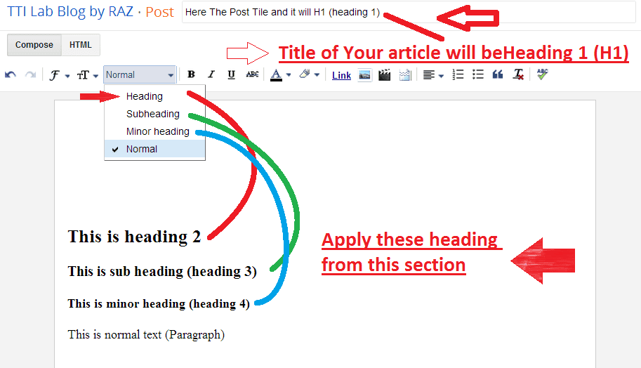 add heading tags blogspot