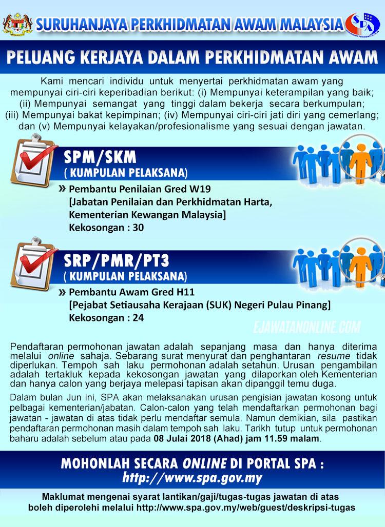 Suruhanjaya Perkhidmatan Awam Spa Malaysia 08 Julai 2018 Jawatan Kosong 2020