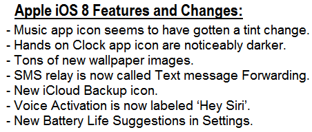 iOS 8 Features and Changes Changelog
