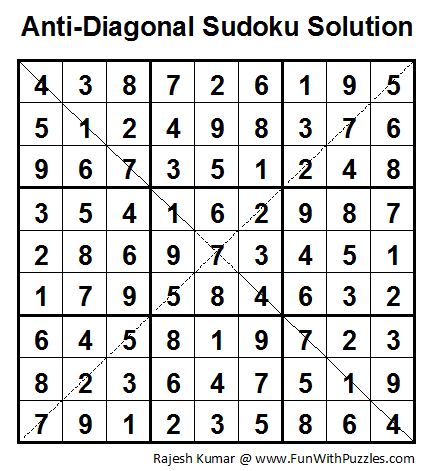 Anti-Diagonal Sudoku (Fun With Sudoku #1) Solution