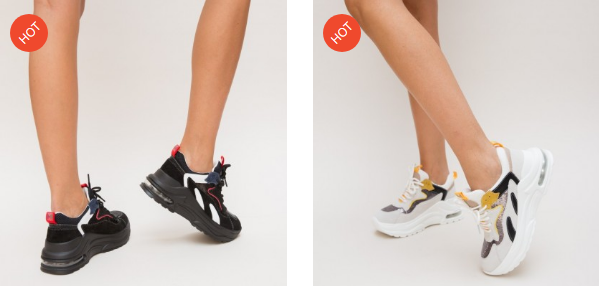 Adidasi fete moderni 2019 cu talpa groasa albi negri cu dungi colorate