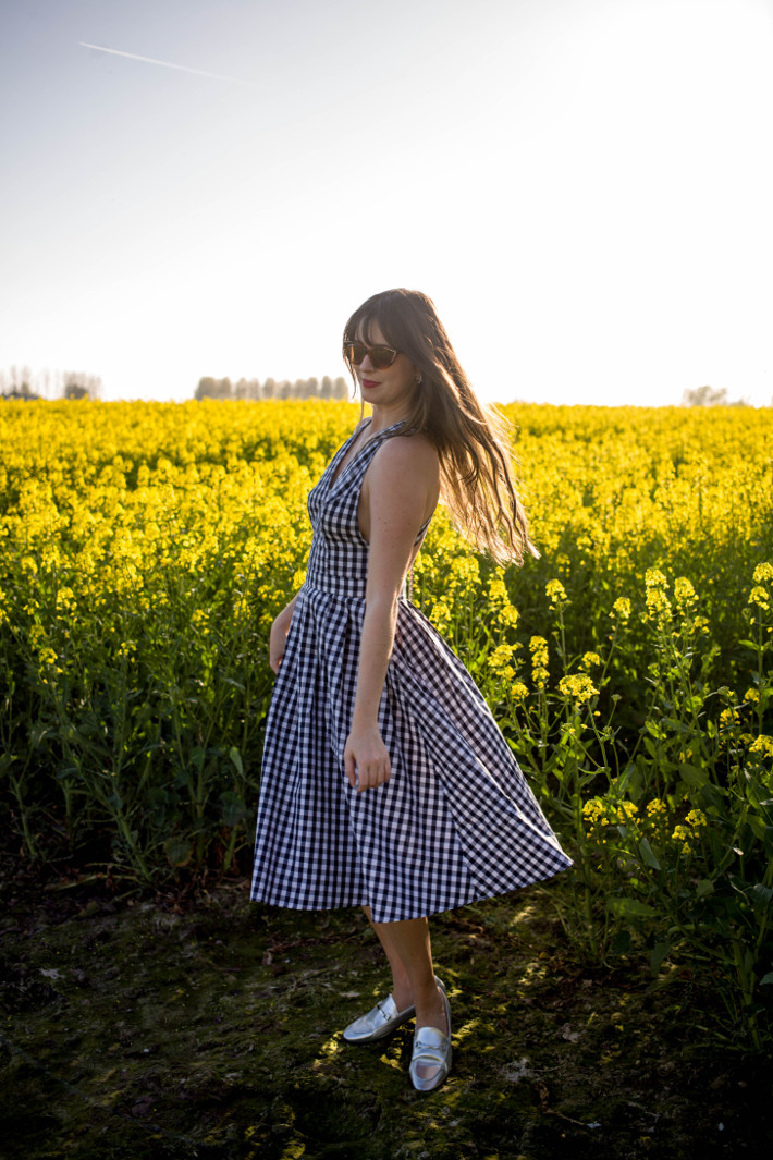 Outfit: gingham dress, silver loafers