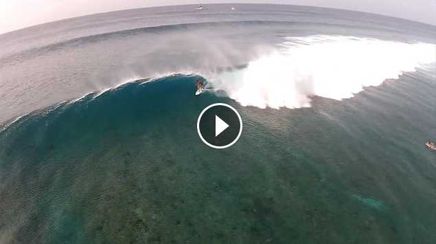 Surfing Maldives Cokes with The Perfect Wave Droone surfing footage
