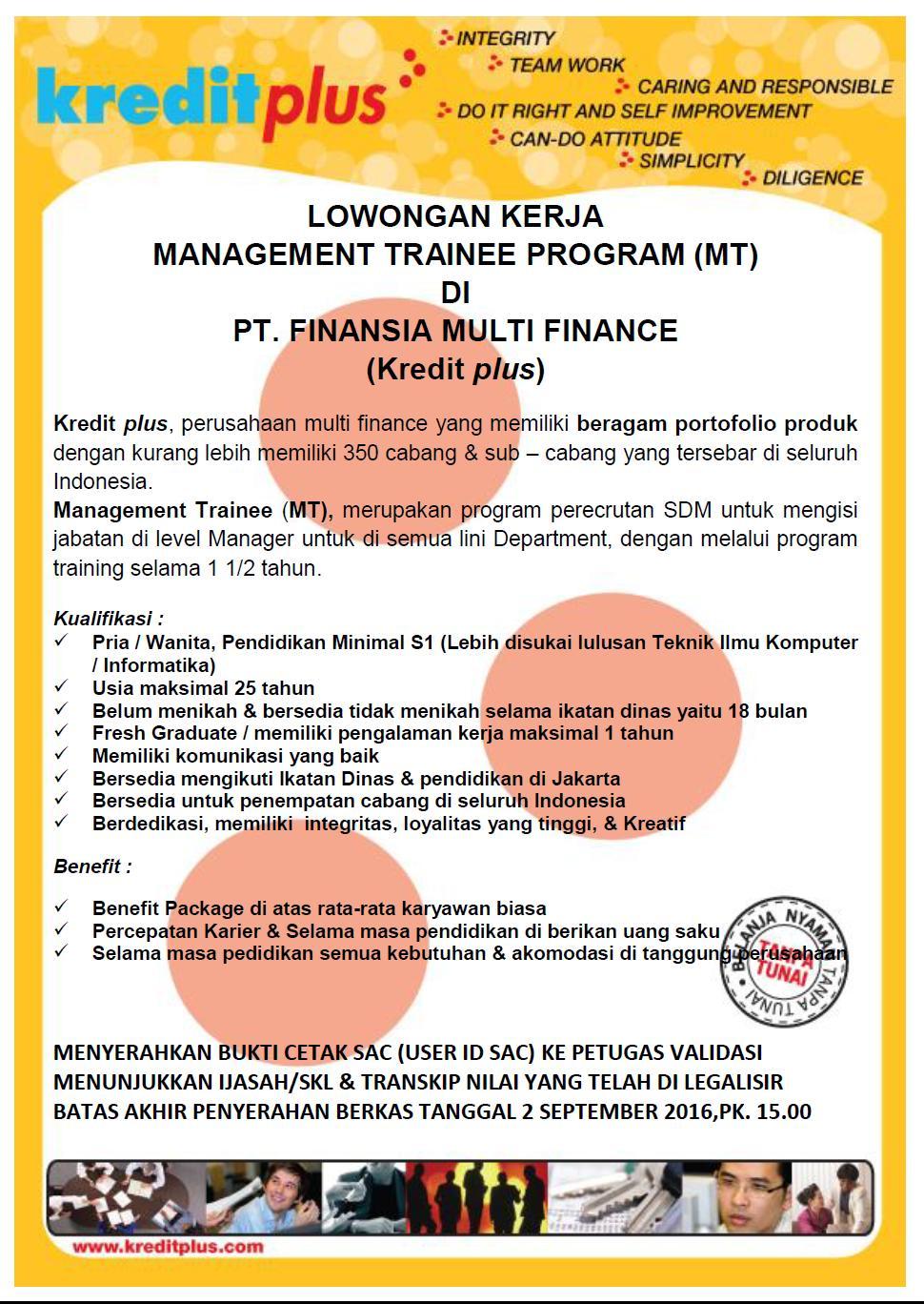 Lowongan Kerja Management Trainee Kredit Plus