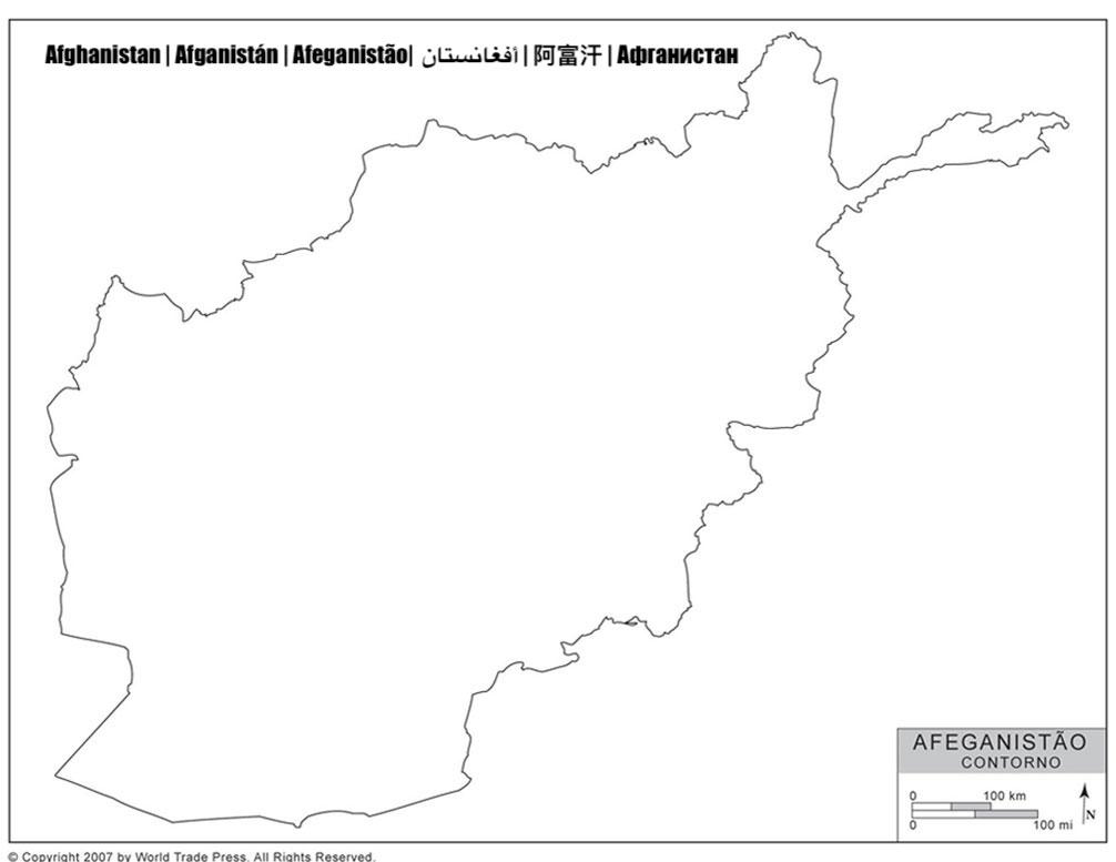 Mapa do Afeganistão com Contorno