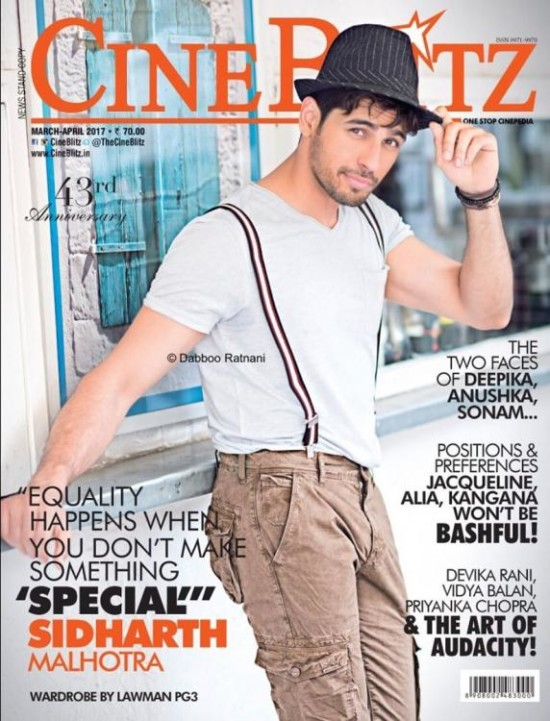 Siddharth Malhotra On The Cover of Cineblitz Magazine Issue April 2017