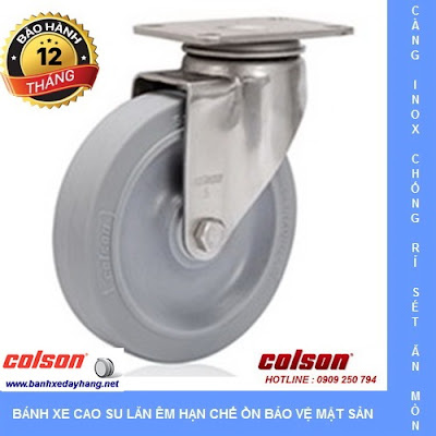 Bánh xe cao su càng inox 304 Colson Mỹ lăn êm không ồn tại Vĩnh Long www.banhxedaycolson.com