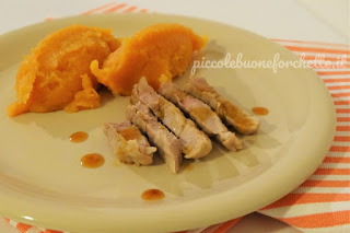 foto Ricetta filetto di maiale all'arancia con purè di patata americana per bambini