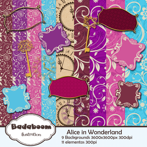 Alice, Pais das Maravilhas, Kit, Scrapbook Scrap, Digital, frames, backgrounds, elementos, badaboom, wonderland