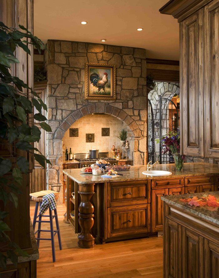 Large stone archway for elegant kitchen design decor units for Elegant stone