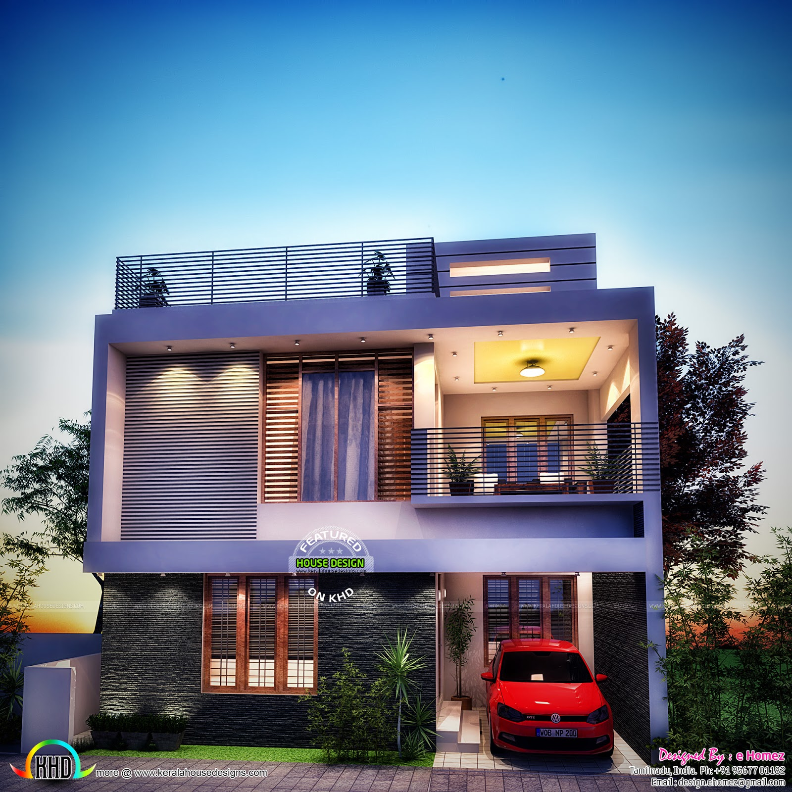 4 bedroom contemporary 1600 sq ft kerala home design and for Modern house plans for 1600 sq ft
