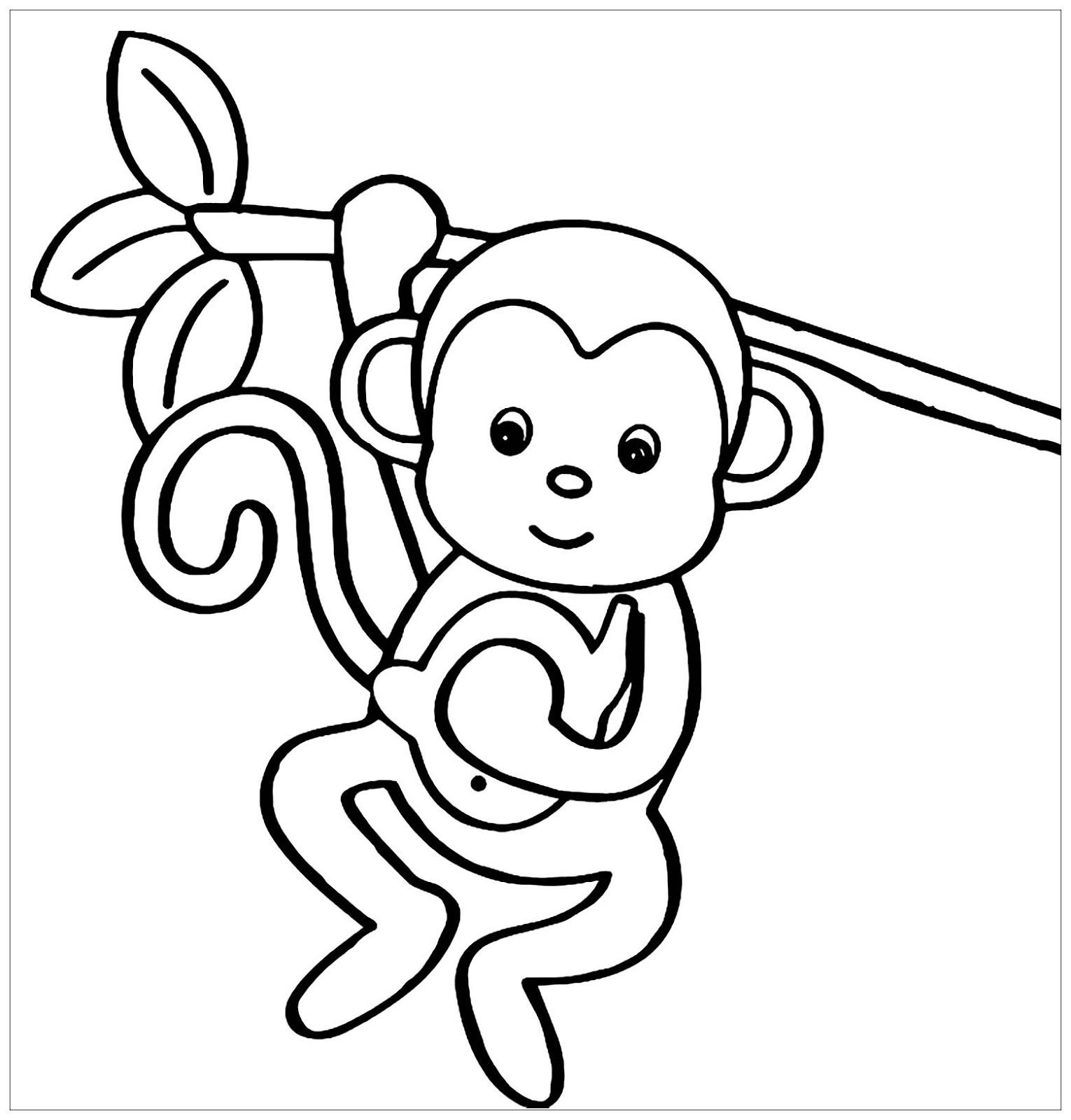 Tranh tô màu con khỉ và cành lá