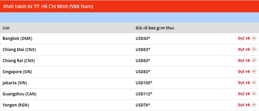 Giá vé ưu đãi khởi hành từ TPHCM Thai Lion Air