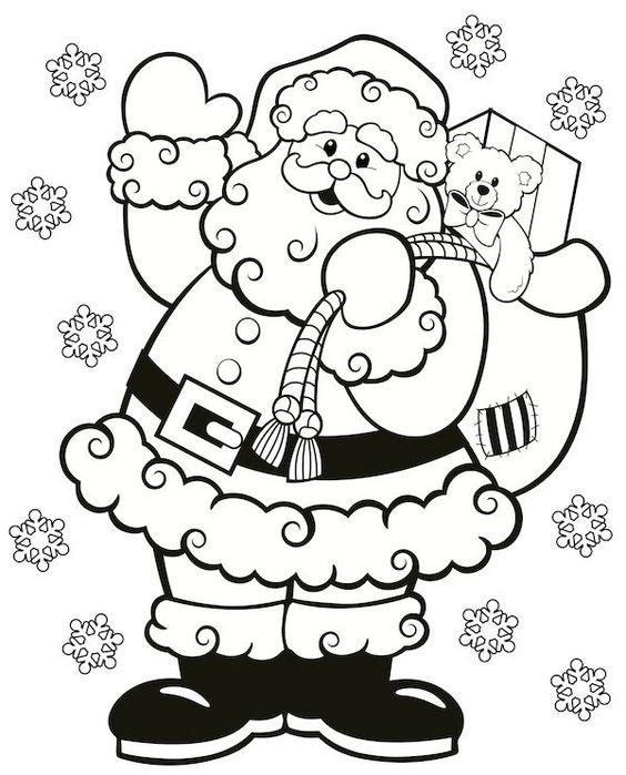 Tranh tô màu ông già Noel và túi quà