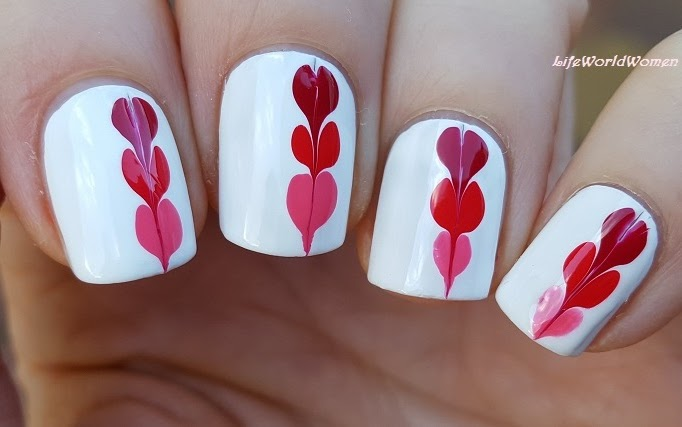 Drag Marble Heart Nail Art For Valentine's Day - Life World Women: Drag Marble Heart Nail Art For Valentine's Day