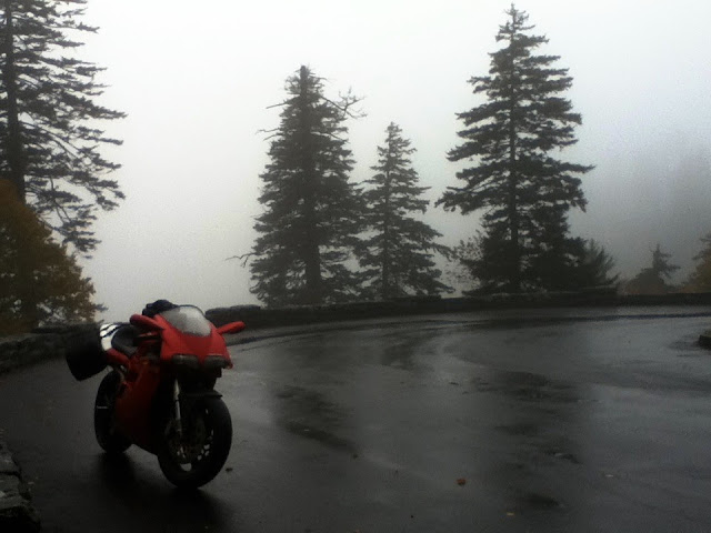 Ducati 916 motorcycle in the fog of the Great Smoky Mountains