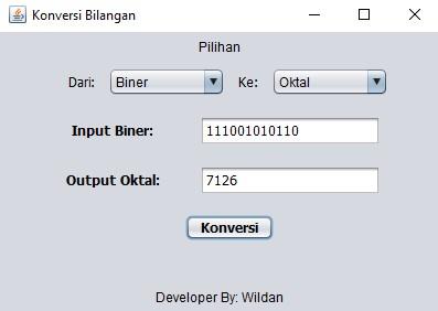 Demo Aplikasi Konversi Bilangan Desimal, Hexadesimal, Biner dan Oktal