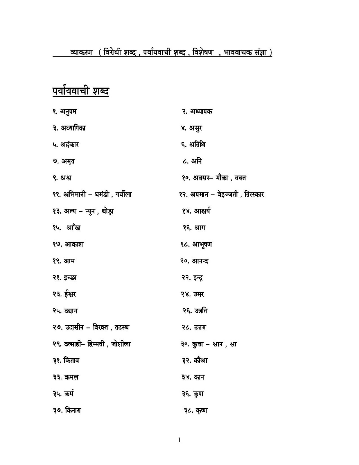 Hindi Grammar Work Sheet Collection For Classes 5 6 7 Amp 8 Grammar Work Sheet Containing