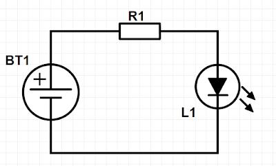 Esquema de ligação de um LED