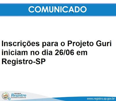 Inscrições para o Projeto Guri iniciam no dia 26/06 em Registro-SP