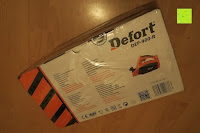 Verpackung: Defort DEP-900-R Elektrohobel 900 W, Falzfunktion, Spanauswurfsystem