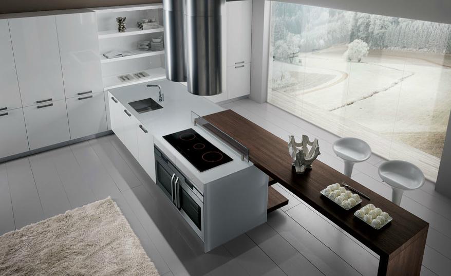 20 formas de incorporar una mesa en la cocina cocinas for Mesa cocina cristal blanco