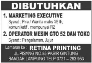 Karir Lampung Terbaru Mei 2016 di Retina Printing Bandar Lampung